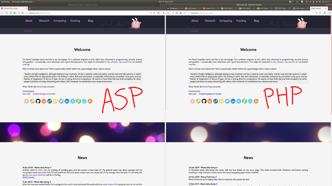 The ASP site left, and the PHP site right