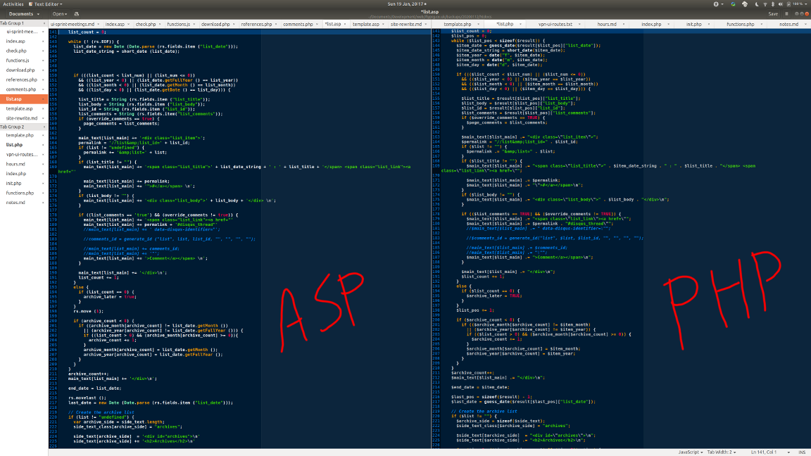 The ASP code left, and the PHP code right