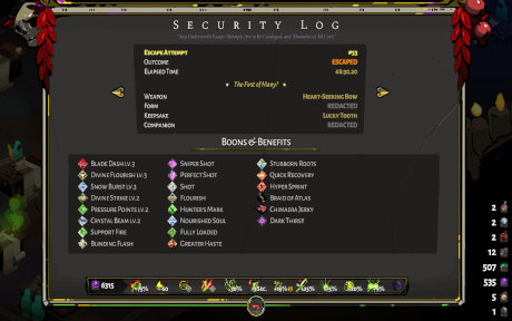 The security log of the escape